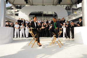 120523-N-XQ375-002 NEW YORK (May 23, 2012) Good Morning America news anchor Robin Roberts interviews actor Will Smith aboard the Intrepid Sea, Air and Space museum during Fleet Week New York 2012. Fleet Week New York marks the 25th year the city has celebrated the nation's sea services. This year, the seven-day event coincides with a commemoration of the Bicentennial of the War of 1812 and will host more than 6,000 service members from the Navy, Marine Corps and Coast Guard in addition to coalition ships from around the world. (U.S. Navy photo by Mass Communication Specialist 3rd Class Deven King/Released)