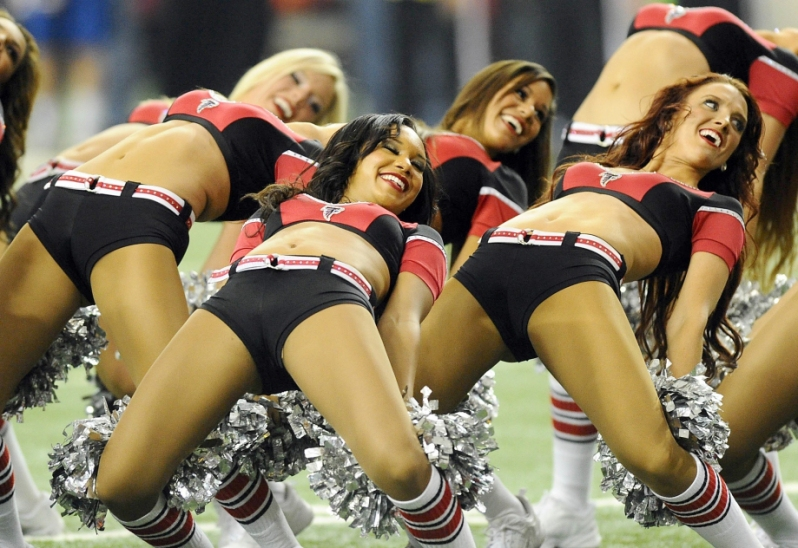 Image #: 26253955    The Atlanta Falcons cheerleaders perform during a break in the action between the Falcons and Carolina Panthers at the Georgia Dome in Atlanta, Sunday, Dec. 29, 2013. The Panthers defeated the Falcons, 21-20, and won the NFC South. (David T. Foster III/Charlotte Observer/MCT)      Charlotte Observer/ MCT /LANDOV